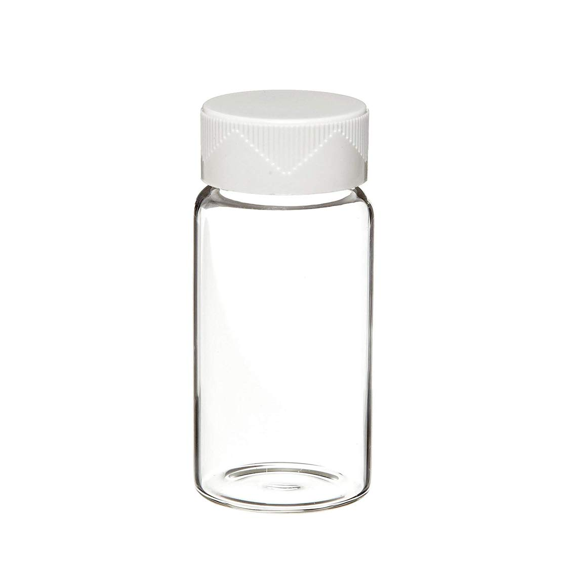 Clear Borosilicate Glass Scintillation Vial with White Urea Screw Cap and Cork-Backed Foil Lined, 24-400mm GPI Thread Finish, 7mL Capacity (Case of 500)