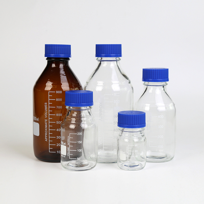 REAGENT BOTTLE with blue PP cap with blue PP outlet ring
