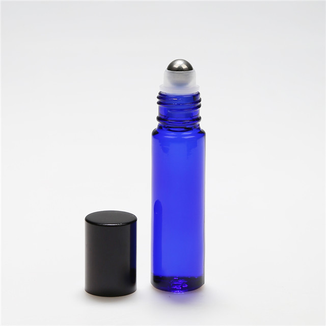 LanJing Refillable Blue Roll on Glass Bottle Thin 10ml Roller Bottles with Metal Ball in Stock
