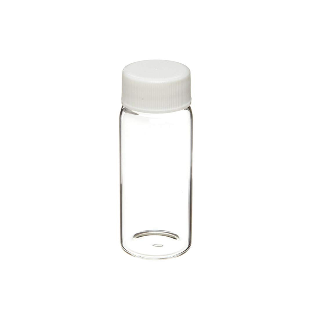 Borosilicate Glass 20mL Liquid Scintillation Vial with 22-400 White Polypropylene Pulp-Backed Foil Lined Screw Cap Packaged Separately
