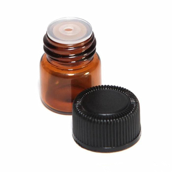 LanJing 2ml 5/8 Dram Amber Essential Oil Bottle with Orifice Reducer
