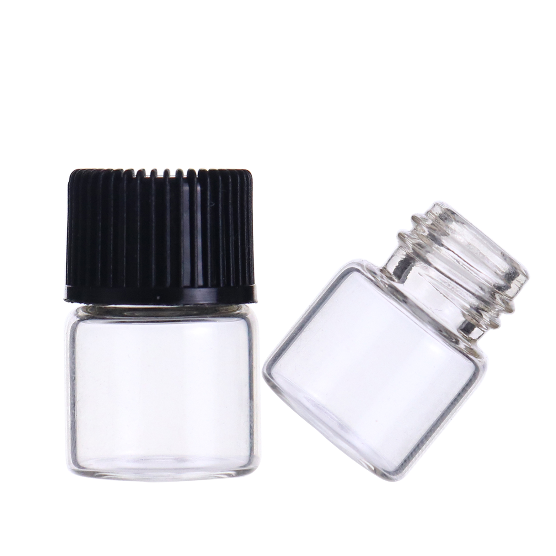 LanJing 2ml 5/8 Dram Clear Essential Oil Bottle with Orifice Reducer