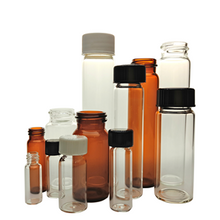 3/8 Dram-11 Dram Screw Thread Sample Vial Borosilicate Clear&Amber Glass With Rubber Line Phenolic